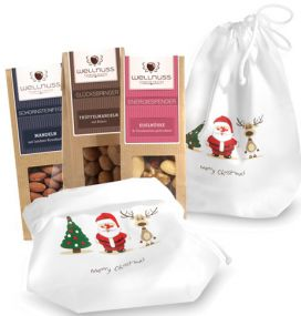 3 Premium Snacks im Baumwollsäckchen als Werbeartikel