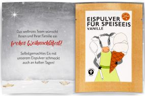 Eispulver Vanille im Portionsbeutel mit Klappkarte als Werbeartikel