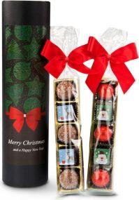 Präsentset Die weihnachtliche Pralinenrolle als Werbeartikel