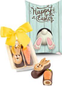 Kleines Oster-Duo, auch in individueller Kissenverpackung als Werbeartikel