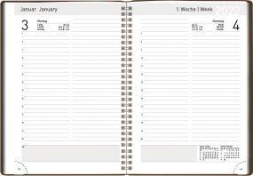 Buchkalender Releather Daily blackline als Werbeartikel