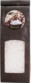 Badesalz mit Lavendelblüten im Blockbodenbeutel mit Etikettendruck als Werbeartikel