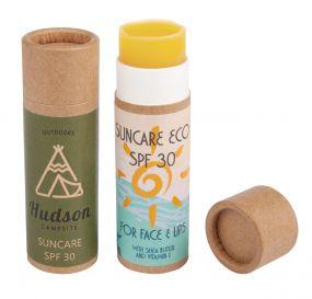 Suncare Eco - Sonnenschutz in der Push-up-Hülse aus Karton inkl. 4c-Etikett als Werbeartikel