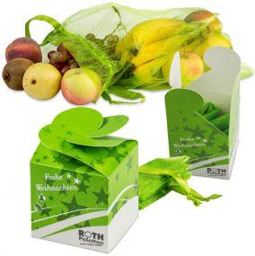 Obst- und Gemüsebeutel in der Geschenkbox als Werbeartikel