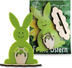 Steckfigur Hase in Werbekarte inkl. Laserung als Werbeartikel