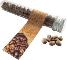 Reagenzglas mit Kaffeebohnen