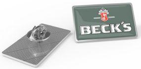Metal Pin rechteckig Medium Schmetterlingsverschluss als Werbeartikel