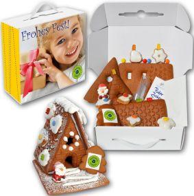 Lebkuchenhaus Bastelset mit Nikolaus als Werbeartikel