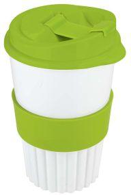BIO-Kaffeebecher to go 350 ml mit 4c In-Mould-Label mit Soft-Manschette als Werbeartikel