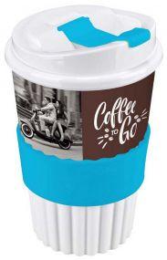 Kaffeebecher to go 350 ml mit 4c In-Mould-Label mit Soft-Manschette als Werbeartikel