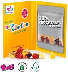 Werbekarte Midi Fruchtgummi Minitüte als Werbeartikel