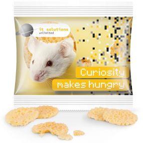 Käse Chips Miditüte, kompostierbare Folie als Werbeartikel
