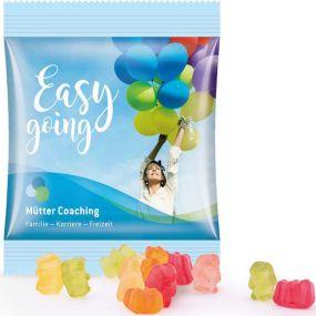 Zuckerreduzierte Gummibärchen Minitüte, kompostierbare Folie als Werbeartikel
