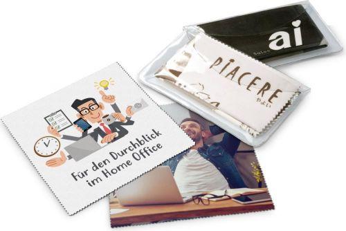 Brillenputztuch, Mikrofasertuch in PVC Schutzetui als Werbeartikel