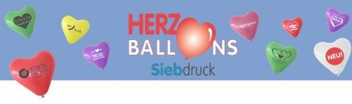 Herzballons mit 1c-Siebdruck als Werbeartikel