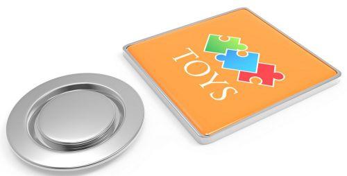 Metal Pin quadratisch mit Magnet 22 x 22 mm als Werbeartikel