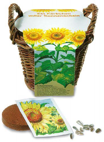 Saatset Sonnenblume Körbchen Standardbanderole als Werbeartikel
