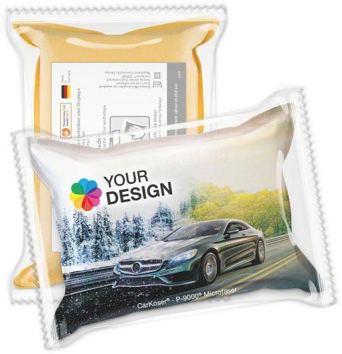 CarKoser® HD 2in1 Scheibenschwamm Kissenform, glatt, in der Folie als Werbeartikel