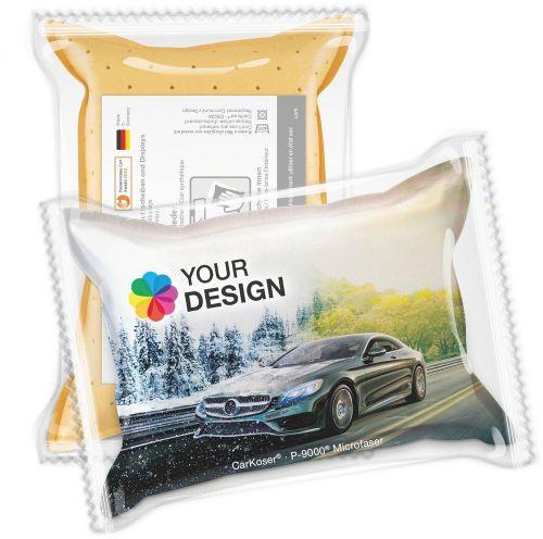 CarKoser® HD 2in1 Scheibenschwamm Kissenform, perforiert, in der Folie als Werbeartikel