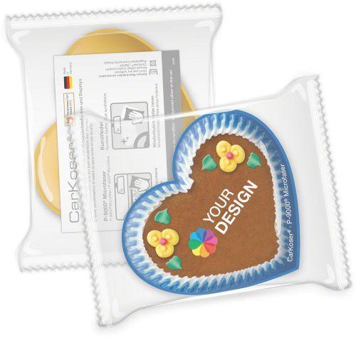 CarKoser® 2in1 Classic Scheibenschwamm Herzform, glatt, in der Folie als Werbeartikel