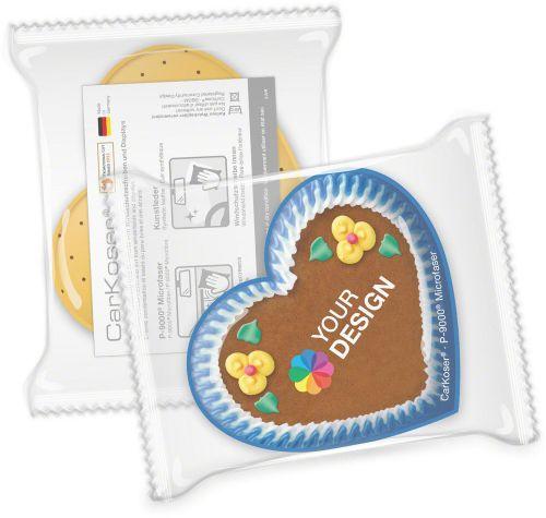 CarKoser® 2in1 Classic Scheibenschwamm Herzform, perforiert, in der Folie als Werbeartikel