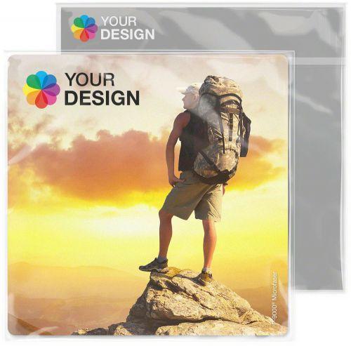 POLYCLEAN Displaytuch 18x18 cm im Polybeutel mit individueller Karte als Werbeartikel