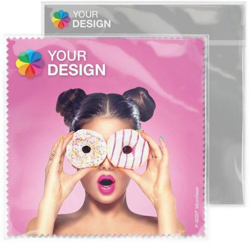 POLYCLEAN Brillenputztuch 15x15 cm im Polybeutel mit individueller Karte als Werbeartikel