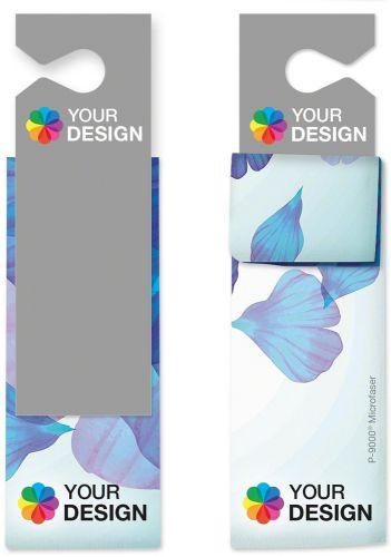 Universal-Microfasertuch 30x30 cm mit individueller Karte als Werbeartikel