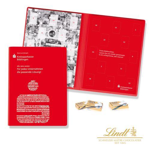 Adventskalender Weihnachtsbuch mit Schokoladentäfelchen als Werbeartikel