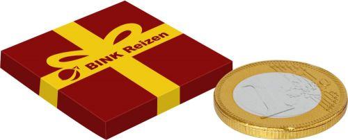 Kleine Box Schokoladenmünze als Werbeartikel
