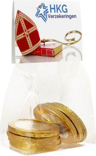 Schokoladen Münzen in Tüte mit Topkarte als Werbeartikel