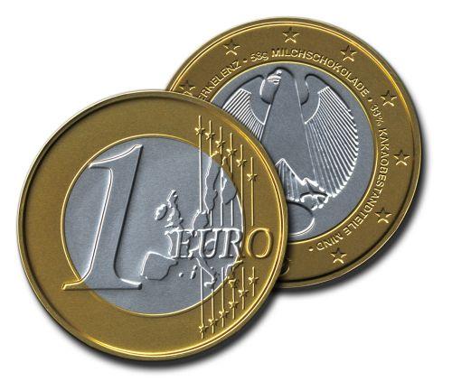 Große Schoko-Euromünze (100 mm) als Werbeartikel