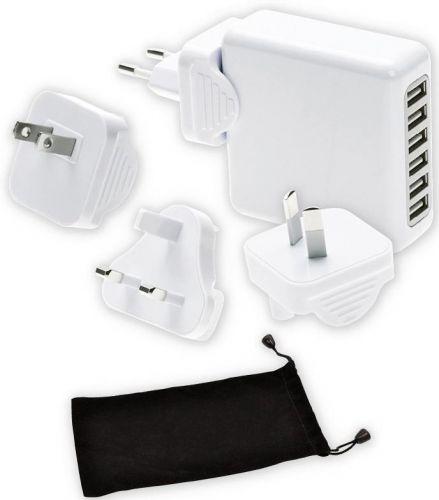 6 Port-USB Ladegerät mit Reiseadapterstecker als Werbeartikel