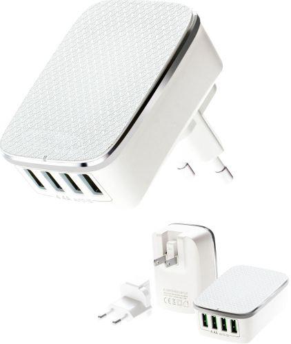4 Port USB Ladegerät mit Zusatzstecker als Werbeartikel