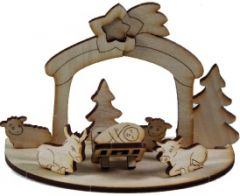 3D Holzpuzzle Krippe mit Laserung