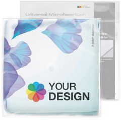 Universal-Microfasertuch 30x30 cm im Polybeutel mit Standardkarte als Werbeartikel