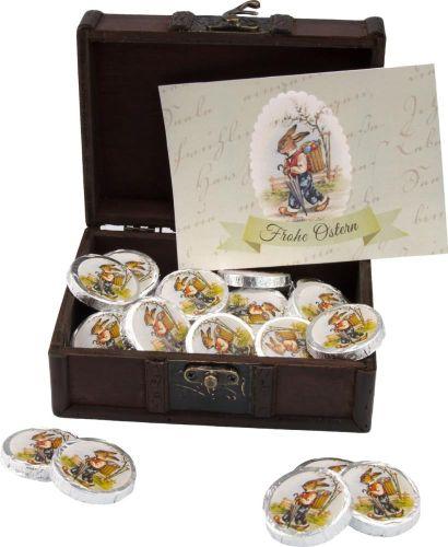 Osterschatz mit 32 Vollmilch-Dublonen als Werbeartikel