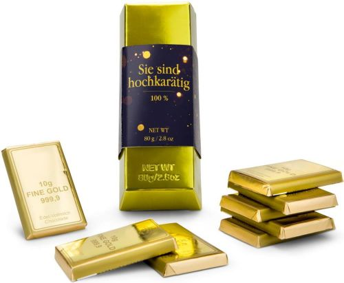 Goldbarren, 80 g Schokolade als Werbeartikel