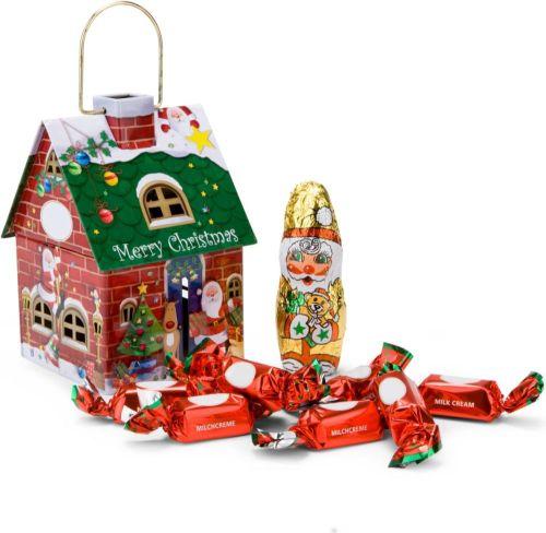 Schokoladenhäuschen Merry Christmas als Werbeartikel