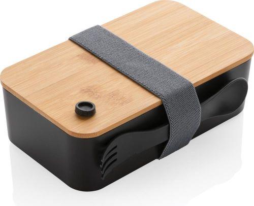 PP Lunchbox mit Bambusdeckel & Göffel als Werbeartikel