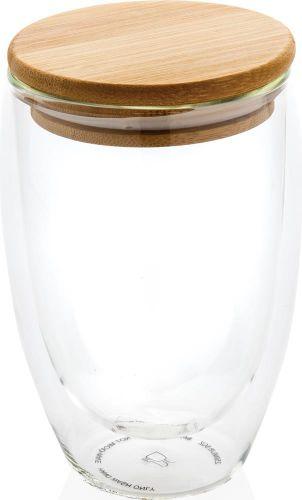 Doppelwandiges Borosilikatglas mit Bambusdeckel 350ml als Werbeartikel
