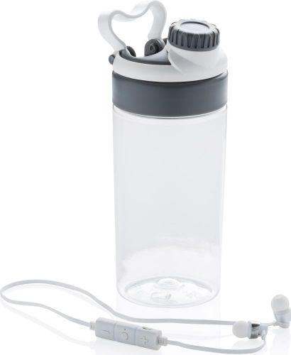 Auslaufsichere Flasche mit kabellosem Kopfhörer als Werbeartikel