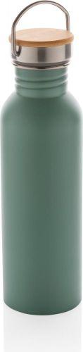 Moderne Stainless-Steel Flasche mit Bambusdeckel als Werbeartikel