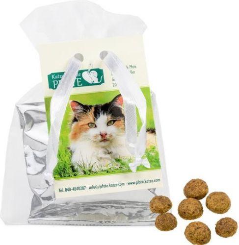 Katzen-Leckerli im Organzabeutel als Werbeartikel