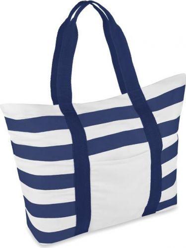 Gestreifte Strandtasche aus Canvas als Werbeartikel
