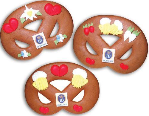 Lebkuchenbreze klein mit Marzipanlogo als Werbeartikel