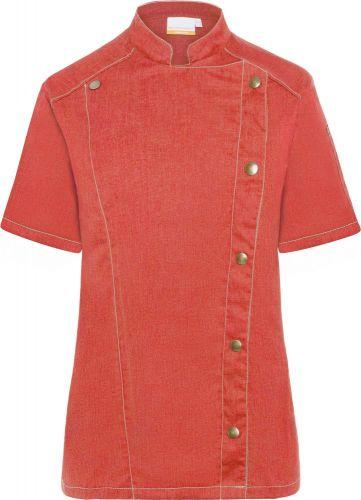 Kurzarm Damenkochjacke Jeans-Style als Werbeartikel