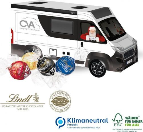 3D Präsent Camper mit Lindt Lindor Pralinés als Werbeartikel