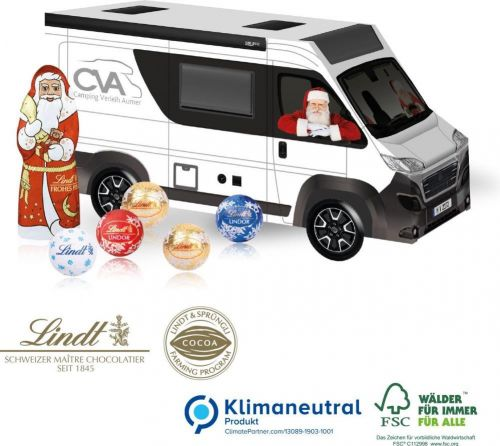 3D Präsent Camper mit Lindt Santa & Lindt Minis als Werbeartikel