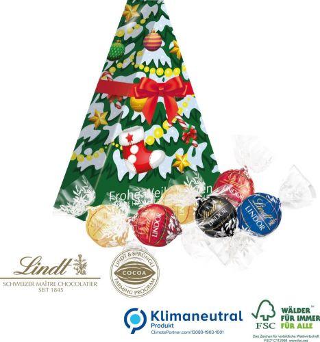 Präsent Tannenbaum mit Lindt Lindor Pralinés als Werbeartikel